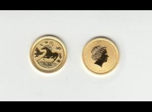 Goldmünze Australien 1/20 OZ Jahr des Pferdes 5 Dollar 2014 in Kapsel