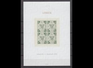 Vignette Lübeck Neudruck 1978 Marke Nr. 5 aus dem Jahre 1859