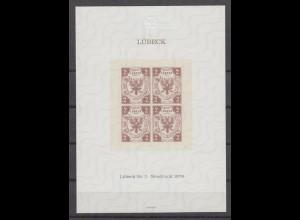 Vignette Lübeck Neudruck 1978 Marke Nr. 3 aus dem Jahre 1859