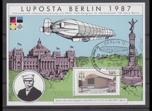 Vignette Luposta Berlin 1987 Sonderstempel Zeppelin