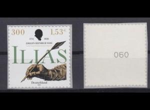 Bund 2251 SELBSTKLEBEND RM mit gerader Nr. Johann H. Voß 300 Pf/1,53 C **