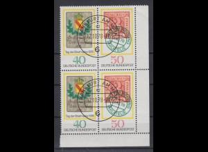 Bund 980-981 Eckrand rechts unten 4er Block Tag der Briefmarke 40 Pf+50 Pf ESST