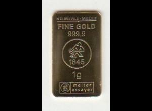 Goldbarren Heimerle + Meule 1 Gramm
