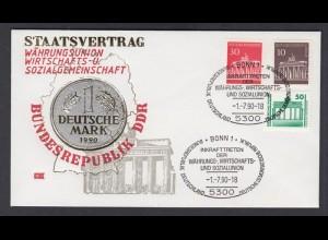Bund Berlin Brief Staatsvertrag Währungs und Sozialunion gestempelt Bonn
