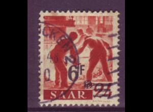 Saarland 233 Z II Freimarken 6 Fr auf 24 Pf gestempelt