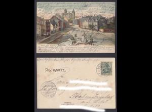 Ansichtskarte Gruss aus Mayen Marktplatz mit Geovaburg gestempelt 1905