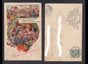 Ansichtskarte Gruss Hamburger Dom gestempelt Traben-Trarbach + Hamburg 1904