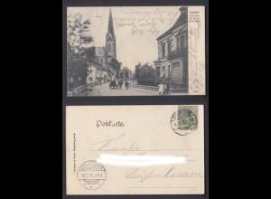 Ansichtskarte Dudweiler Provinzial-Str. mit der evang. Kirche gestempelt 1905