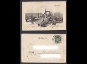 Ansichtskarte Mannheim Neckarbrücke gestempelt Mannheim + Lambrecht 1901