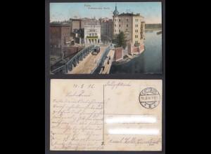 Ansichtskarte Feldpost 1. WK Posen Wallischeibrücke Warthe gestempelt 1916
