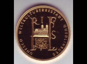 Goldmünze 100 Euro 2003 UNESCO Weltkulturerbe Stadt Quedlinburg