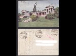 Feldpostkarte 1. WK München Bavaria mit Ruhmenshalle gestempelt 1918