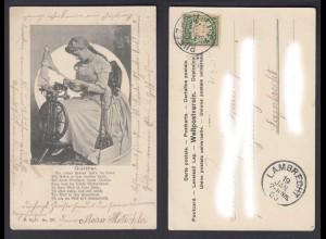 Ansichtskarte Gretchen am Spinnrad mit Vers Lambrecht 1903