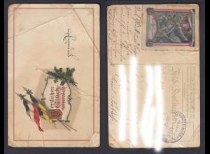 Postkarte Feldpost Kriegswohlfahrtspflege Bahnpost Zug 4613 gestempelt 1914