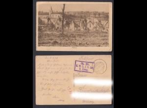 Feldpostkarte 1. WK Flabas Moirey-Flabas-Crépion französische Gemeinde 1917