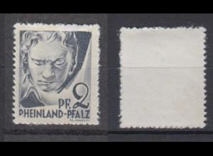 Französische Zone Rheinland Pfalz 1 G Druck auf der Gummiseite 2 Pf postfrisch