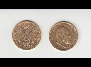 Goldmünze Wilhelm II. König von Württemberg 10 Mark 1907 F
