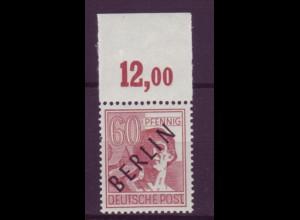 Berlin 14P Schwarzaufdruck Plattendruck ndgz Oberrand 60 Pf postfrisch