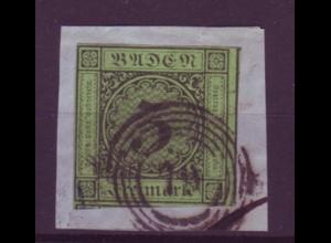 Baden Mi.Nr. 6 Ziffer im Kreis 3 Kreuzer gestempelt auf Briefstück