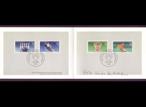 Bund 1238-1239 + Berlin 732-733 Ministerkarte Sport, Kegeln,Basketball 1985 ESST