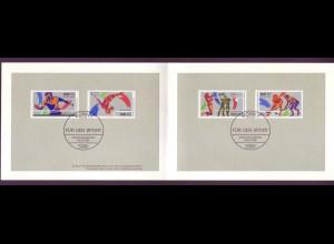 Bund 1408-1409 + Berlin 836-837 Ministerkarte Weltmesterschaft Sport 1989 ESST
