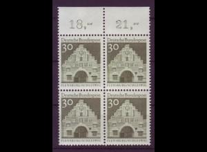 Bund 492 4er Block mit Oberrand Deutsche Bauwerke (II) 30 Pf postfrisch