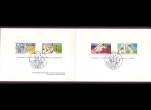 Bund 1094-1095 + Berlin 645-646 Ministerkarte für den Sport 1981 ESST