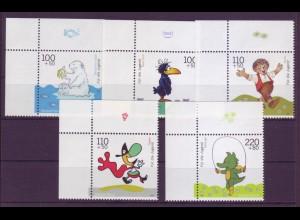 Bund 2055-2059 Eckrand links oben Jugend Trickfilmfiguren 1999 postfrisch