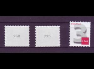 Bund 2964 3-Cent EZM kl. Nr. gerade + ungerade Type II n m. verstümmelten Nr. **