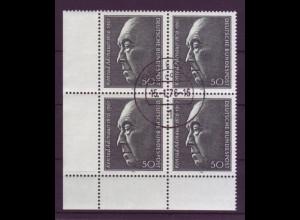 876 Eckrand links unten 4er Block Konrad Adenauer 50 Pf Tagesstempel