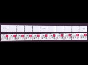 2964 3-Cent 11er Streifen schmale Nr. g-u-g Typ I v ** rechts überlange Zähnung