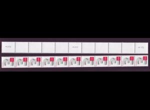 2964 3-Cent 11er Streifen schmale Nr. u-g-u Typ I v ** rechts überlange Zähnung
