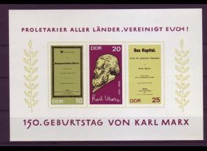 DDR Block 27 150. Geburtstag von Karl Marx 10, 20, 25 Pf postfrisch
