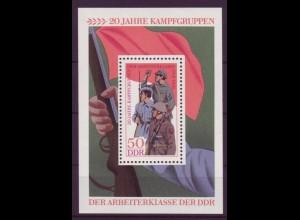 DDR Block 39 20 Jahre Kampfgruppen der Arbeiterklasse der DDR 50 Pf postfrisch
