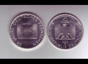 Silbermünze 10 Euro 2002 50 Jahre Deutsches Fernsehen stempelglanz