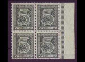 Dt. Reich Dienst D 23 Seitebrand rechts 4er Block 5 Pf postfrisch