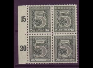 Dt. Reich Dienst D 23 Seitenrand links 4er Block 5 Pf postfrisch /1