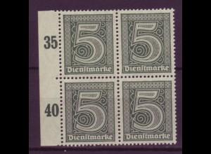 Dt. Reich Dienst D 23 Seitenrand links 4er Block 5 Pf postfrisch /3