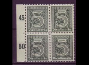 Dt. Reich Dienst D 23 Seitenrand links 4er Block 5 Pf postfrisch /4