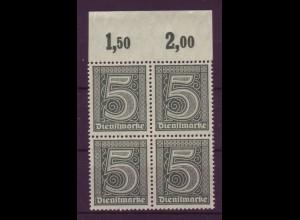 Dt. Reich Dienst D 23 mit Oberrand Plattendruck 4er Block 5 Pf postfrisch /1