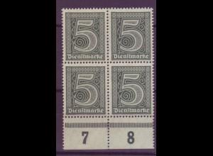 Dt. Reich Dienst D 23 mit Unterrand 4er Block 5 Pf postfrisch