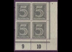 Dt. Reich Dienst D 23 Eckrand rechts unten 4er Block 5 Pf postfrisch