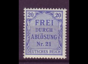 Dt. Reich Dienst D 5 Einzelmarke 20 Pf postfrisch