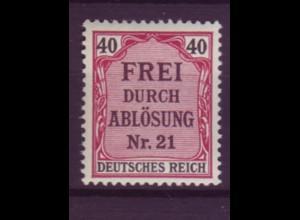 Dt. Reich Dienst D 7 Einzelmarke 40 Pf postfrisch