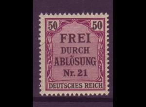 Dt. Reich Dienst D 8 Einzelmarke 50 Pf postfrisch