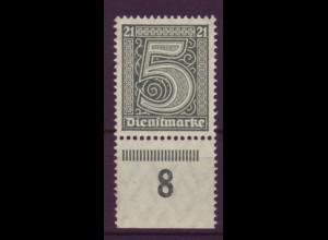 Dt. Reich Dienst D 16 Einzelmarke 5 Pf mit Unterrand (8) postfrisch /2