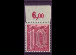 Dt. Reich Dienst D 24 Einzelmarke 10 Pf mit Oberrand (6,00) postfrisch /4