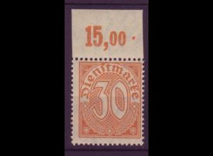 Dt. Reich Dienst D 27 Einzelmarke 30 Pf mit Oberrand (15,00) postfrisch /4