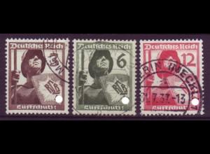 Deutsches Reich 643-645 Luftschutz 3 Pf, 6 Pf + 12 Pf gestempelt /1