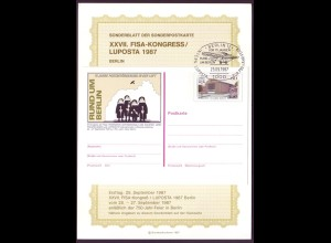 Sonderblatt Berlin Mi.Nr.774 XXVII. FISA-KONGRESS LUPOSTA 1987 Berlin